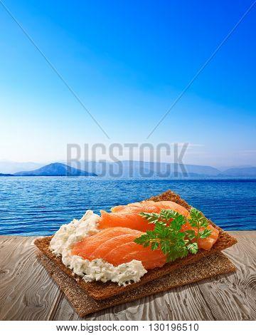 Bread Crisp With Salmon, Rustic Table, Seascape