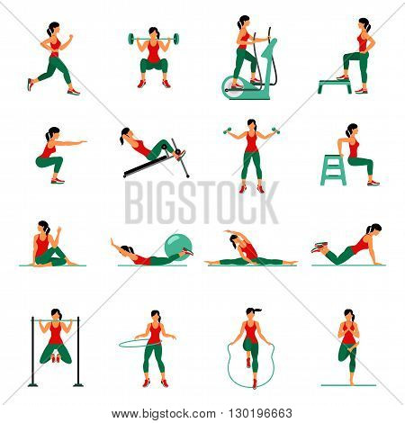 Aerobic Icons. 4X4. Full Color