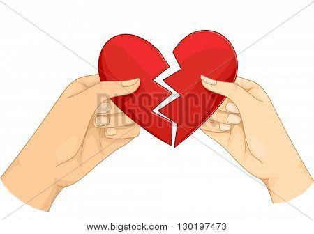 Illustration of a Couple Tearing a Heart