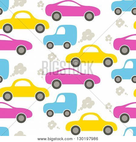 Car cute baby vector seamless pattern. Kid fabric and apparel design. Bright yellow, magenta pink and blue transport with exhaust cartoon pattern.