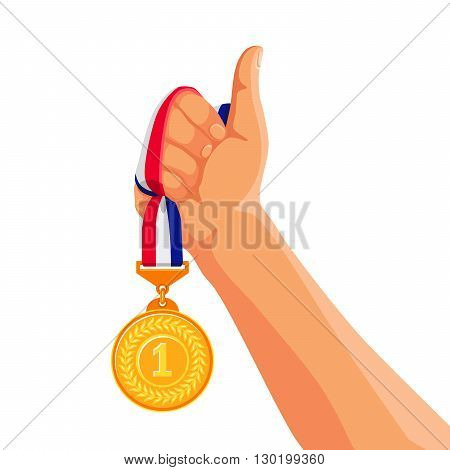 Gold medal in hand. Vector illustration on white background. Winner and medalist. The sign Like hand.