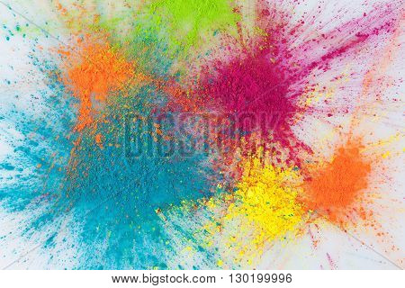 Color Explosion Concept With Holi Powder Closeup