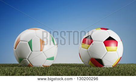 Ireland vs. Germany in soccer match during european championships (3D Rendering)