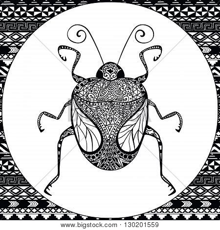 Coloring Page of Decorative Black Bug with Hand Drawn Patterns, Zentangle Vector Illustartion, Tribal Totem Insect for Adult Coloring Books or Tattoos, Isolated on Background. Monochrome Sketch.
