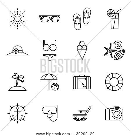 Summer vacation line art beach resort accessorize vector symbols flat design template illustration