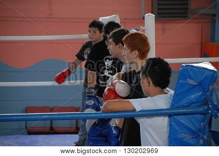 ANKARA/TURKEY-OCTOBER 4, 2008: Young boxers at the box ring of sport hall during the training. October 4, 2008-Ankara/Turkey