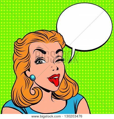 Emoji retro tongue girl emoticons. Pop art vector illustration. Emoji woman. Emotions girl face. Retro Emoji girl