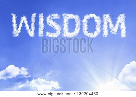 Wisdom cloud word with a blue sky