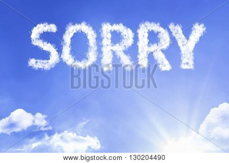 Sorry cloud word with a blue sky