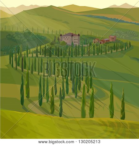 stylized summer landscape with rural road and castle, vector illustration