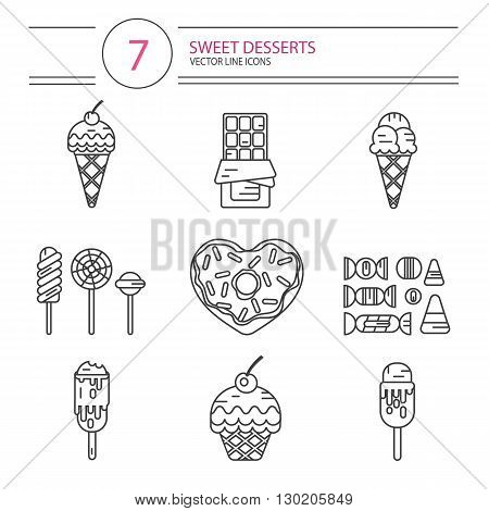 Vector modern line style icons set of sweets and candies products. Dessert icons set. Donut with glaze in heart shape, lollipops, chocolate, muffin, different types of ice creams and candies.