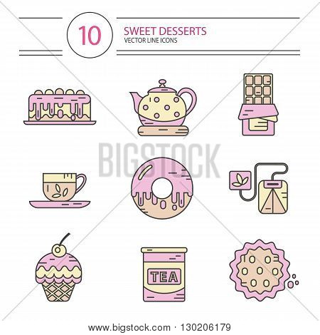 Vector modern line style color icons set of tea party and sweets products. Dessert icons set. Cup, teapot, tea can, tea bag, donut, chocolate, cake, cookie, muffin.