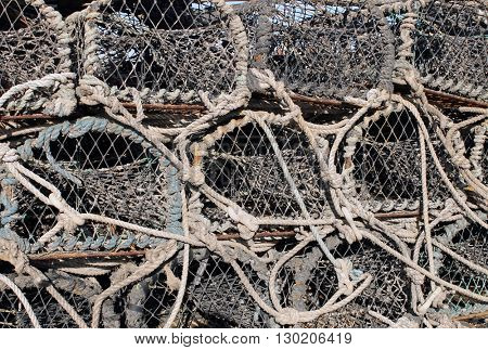 Background of lobster pots and creels.