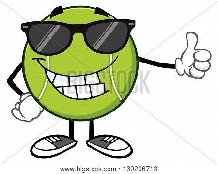 Smiling Tennis Ball Cartoon Mascot Character With Sunglasses Giving A Thumb Up