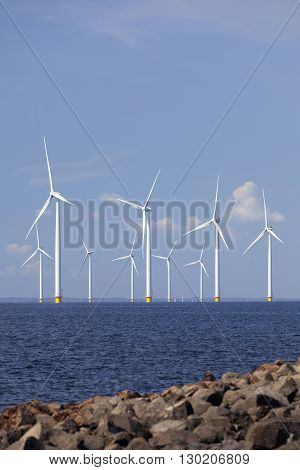 wind turbines in water of ijsselmeer off the coast of flevoland with blue sky in the netherlands