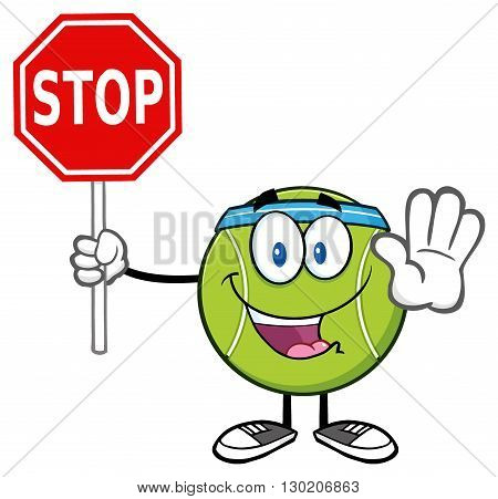Funny Tennis Ball Cartoon Mascot Character Gesturing And Holding A Stop Sign