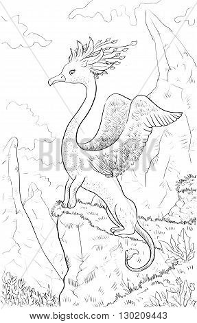Fantastic animal with head of a bird body of lion. Coloring page with fantastic animal and fantasy landscape. Original coloring for kids.