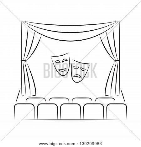 Theater stage with curtain, seats, comedy and tragedy theater masks, sketch style illustration. Theater stage vector line icon. Theater stage logo template. poster