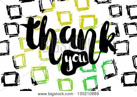 Creative bright sharp lettering with the phrase of gratitude. Vector illustration