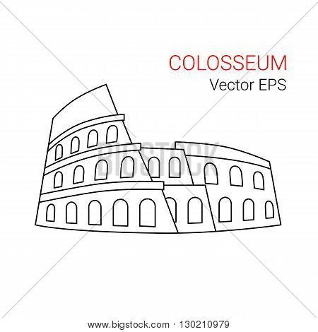 Vector Line Icon of Colosseum, Rome, Italy. Isolated on white background.