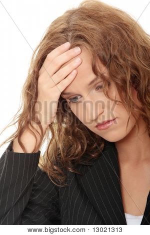 Young business woman with headache, isolated on white background