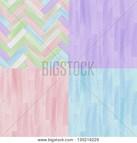 Pastel colored realistic wooden floor parquet seamless patterns set, vector backgrounda