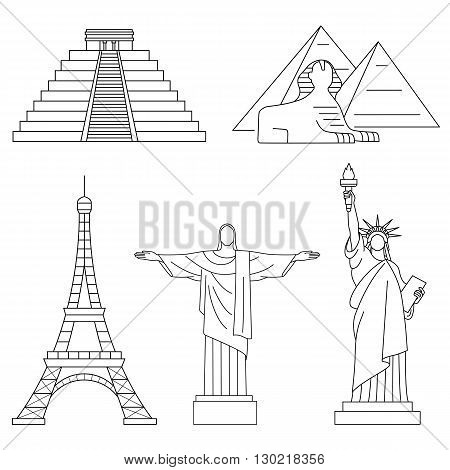 World Landmarks, Eiffel Tower, Statue of liberty,Chichen Itza, Christ the Redeemer, Sphinx. Vector line icons set.