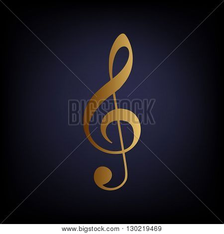 Music violin clef sign. G-clef. Treble clef. Golden style icon on dark blue background.
