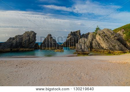 Beautiful sot shore Bermuda beach.