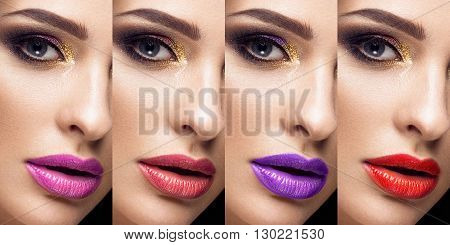 Collection of eyes andlips red and purple hues. The palette of lipsticks. Close-up.