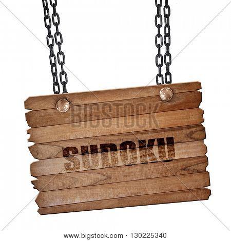 Sudoku, 3D rendering, wooden board on a grunge chain