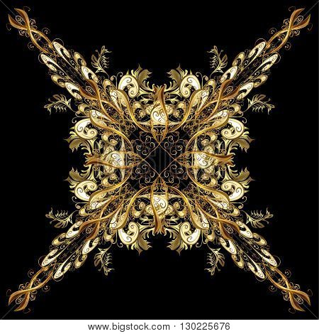 vector illustration texture with golden elements on black background
