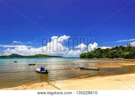 Long-tail boats at Rawai beach in Phuket southern Thailand