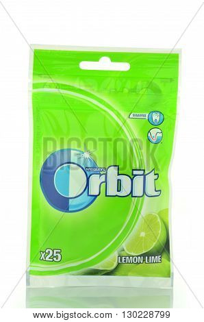 CIRCA MAY 2016 - GDANSK: Orbit chewing gum isolated on white background. Orbit chewing gum is produced by Wrigley Company which was founded in USA in 1891