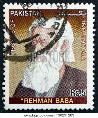 PAKISTAN - CIRCA 2005: a stamp printed in Pakistan shows Abdul Rahman Baba was a Pashtun Poet from Peshawar in the Mughal Empire Pakistan circa 2005