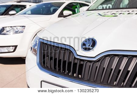 SAMARA RUSSIA - MAY 14 2016: Vehicles Skoda near the office of official dealer. Skoda Auto is an automobile manufacturer based in the Czech Republic