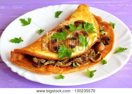 Omelette stuffed with mushrooms and cheese. Delicious omelet recipe. Simple egg recipe. Vegetarian recipe