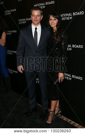 NEW YORK-JAN 5: Actor Matt Damon (L) and wife Luciana Damon attend the 2015 National Board of Review Gala at Cipriani 42nd Street on January 5, 2016 in New York City.