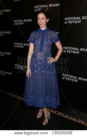 NEW YORK-JAN 5: Actress Emily Blunt attends the 2015 National Board of Review Gala at Cipriani 42nd Street on January 5, 2016 in New York City.