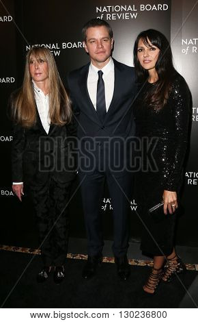 NEW YORK-JAN 5: (L-R) NBR President Annie Schulhof, Matt Damon and Luciana Damon attend the 2015 National Board of Review Gala at Cipriani 42nd Street on January 5, 2016 in New York City.