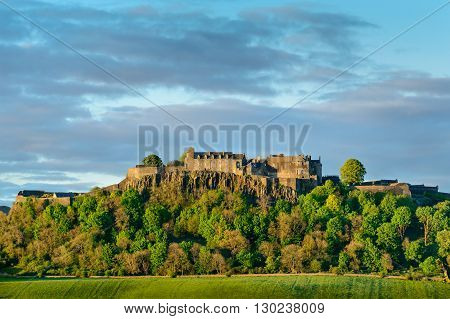 Western side of Stirling Castle as the sun sets.