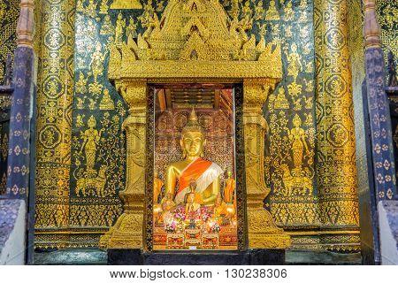 Wat Xieng Thong Temple At Twilight Time In Luang Pra Bang, Laos
