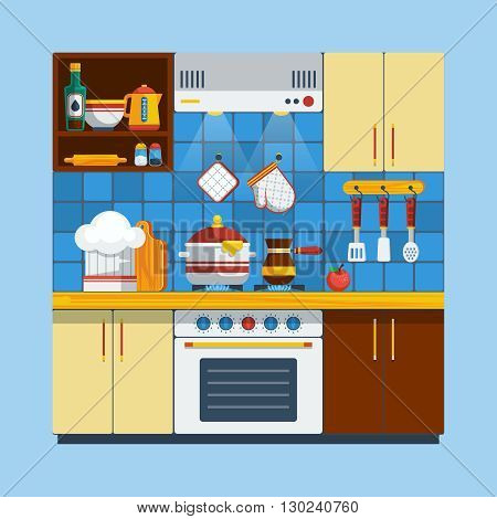 Kitchen Interior Concept. Kitchen Interior Vector Illustration. Cooking Flat Symbols. Interior Design Set. Kitchen Decorative Elements.