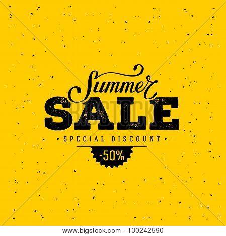 Summer Sale banner. Vintage design. Vector illustration.