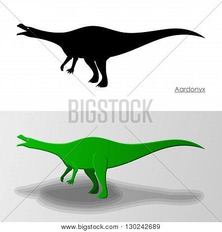 Aardonyx Dinosaur. Vector Illustration Silhouette and Cartoon Characters