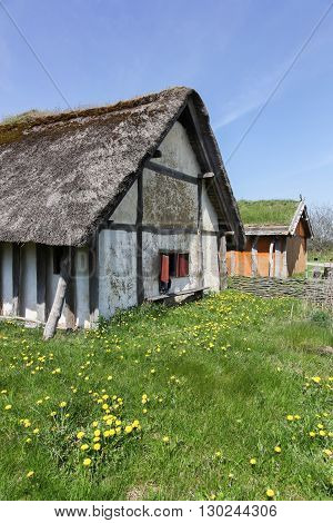Viking houses in the city of Ribe, Denmark