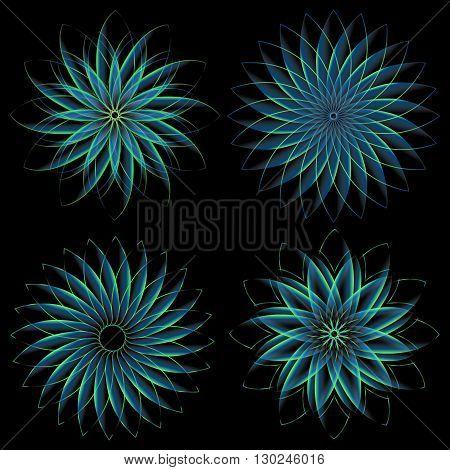 Pattern of round design elements spirograph on background
