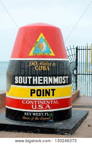 Southernmost Point landmark in Key West, Florida, USA