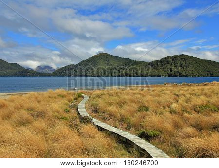Scene at Green Lake New Zealand Dreamlike landscape. Curved gangplank leading to the lake. Tramping route in the Fjordland National Park.