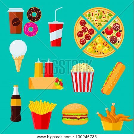 Fast food takeaway menu icon with flat symbols of cheeseburger and hot dog sandwiches, pizza, coffee and soda drinks, tortilla wrap with vegetables and sauces, boxes of french fries and fried chicken, donuts, ice cream and popcorn